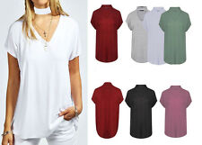 Womens Ladies Choker V Neck Short Sleeve Oversized Baggy Top Shirt Size UK 8-26