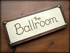 LARGE personalised ENGRAVED Wood door sign/plaque COLOUR CHOICE metal detailing