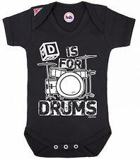 BritTot Baby Grow | D Is For Drums| Boys Girls Music Bodysuit Baby Shower