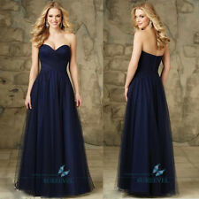 Navy Long Chiffon Formal Evening Dress  Bridesmaid Dress Prom Party Ball Gown