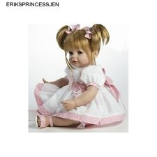 Life Like Realistic Weighted Baby Doll Toddler Blond Pigtails Birthday Vinyl NEW