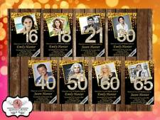 10 x Personalised 16th 18th 21st 30th 40th 50th 60th 65th Birthday Party Invites
