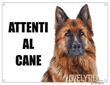 PASTORE TEDESCO attenti al cane mod 2 TARGA cartello CANE IN METALLO