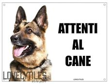 PASTORE TEDESCO attenti al cane mod 4 TARGA cartello CANE IN METALLO