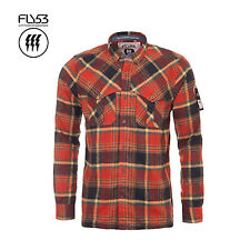 FLY53 MENS RUST CHECK LONG SLEEVE THOROS FLANNEL SHIRT RRP £40 SAVE 75% OFF