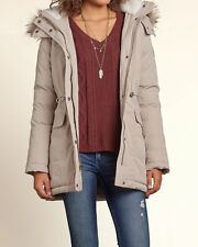 Abercrombie & Fitch - Hollister Womens Down Filled Jacket Parka M Stone NWT