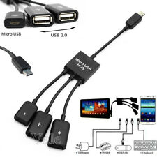 3in1 Male to Female Micro USB 2.0 Power Charger Host OTG Hub Cable Black/White