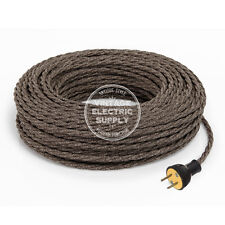 Brown Linen Cordset - Cloth Covered Twisted Rewire Set - Antique Lamp & Fan Cord