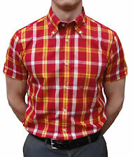 BRUTUS TRIMFIT BRICK RED & YELLOW TARTAN SHORT SLEEVE SHIRT SKINHEAD SKA MOD Oi