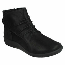 SILLIAN CHELL LADIES CLOUDSTEPPERS CLARKS ZIP CASUAL WORK BLACK ANKLE BOOTS