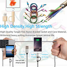 NEW Multi Dual Charger 2 In 1 Lightning Micro USB Nylon Braided Charging Cable