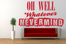 Nirvana, Nevermind Song Lyrics Quote, Vinyl Wall Art Sticker, Decal. Kurt Cobain