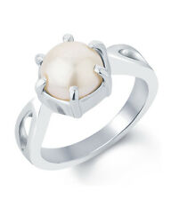Pearl Moti Silver Certified Gemstone Ring 92.5 Sterling Ring