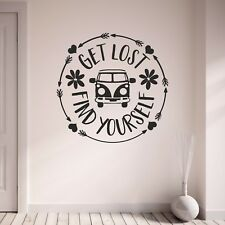 Get Lost Find Yourself VW Camper Van Camping Vinyl Wall Art Sticker Decal