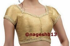 Readymade Saree Blouse, Golden Sari Blouse, Designer Kundan & Mirror Blouse