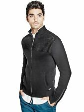 GUESS Cardigan Sweater Mens Mock Neck Jumper w- Zip Cuffs L or XL Black NWT