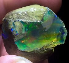 54.0ct Natural Ethiopian Welo Rough Opal Green Blue Flash Inner Scenery