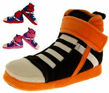 Girls Boys Hi Top Trainer Boot Slippers Kids Padded Slipper Boots Sz Size 9-13