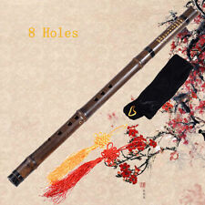 8 Hole Chinese Bamboo Flute Xiao Purple Bamboo With Chinese Knot And Bag