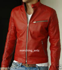 New Soft Genuine Leather Lambskin Motorcycle Biker Jacket Blazer Bomber Coat RSJ