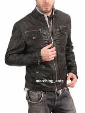 New Soft Genuine Leather Lambskin Motorcycle Biker Jacket Blazer Bomber Coat 512