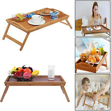 LARGE WOODEN BAMBOO SERVING TRAY FOLDABLE LEGS BREAKFAST CARRY TABLE LAPTOP DESK