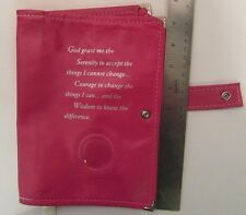 Genuine Leather AA Double Deluxe Alcoholics Anonymous Pink  Book Cover Fuchsia