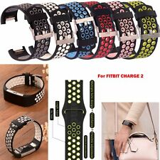 Silicone Wrist Strap Classic Metal Buckle For Fitbit Charge 2 Activity Tracker
