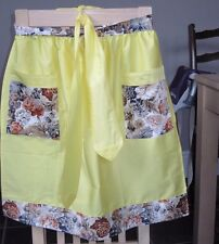 YELLOW TRIMMED WITH BROWN FLORAL DESIGN HALF APRON / PINNY