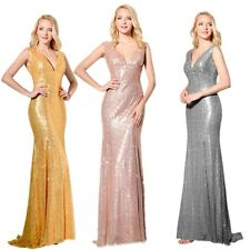 Abendkleid Lang Ballkleid Party Cocktail Abschluss Pailetten Rosa Gold Gr 32-58