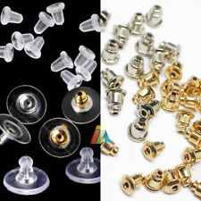 EARRING BACKS STOPPERS Silver METAL Plated SOFT CLEAR PLASTIC RUBBER FINDINGS