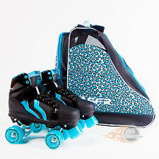 Rio Roller Kicks Style Quad Skates Black/Blue - Optional Skate Bag