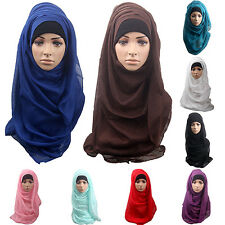 WOMEN COTTON MUSLIM ISLAMIC RAMADAN HIJAB LONG SCARF SHAWL WRAP HEADWEAR GORGROU