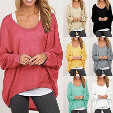 Womens Oversized Loose Long Sleeve Shirt Blouse Ladies Baggy Tops Batwing Jumper