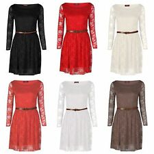 WOMENS LADIES LONG SLEEVE BELTED FLORAL LACE FLARED PARTY /CASUAL SKATER DRESS