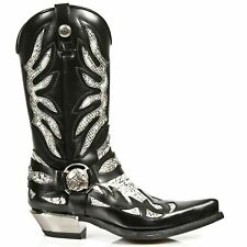 NEWROCK New Rock Mens 7991-S3 Cowboy Western BLACK WHITE PITON Leather Zip Boots