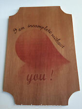 Handmade hanging wooden wall plaque sign decor wood burn pyrography TWC01284
