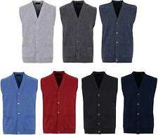 Mens Knitted Waistcoat Full Front Button Closure With Front Pockets V Neck