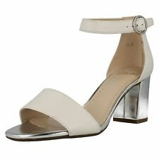 648d65695e8 Clarks Sandals Shoes SUSIE DEVA White Leather and Metallic Silver Block Heel