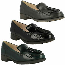 BUSBY FOLLY LADIES CLARKS LEATHER PATENT SLIP ON WIDE LOW HEEL LOAFER SHOES SIZE