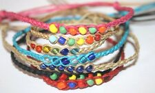 NEW HANDMADE COLOUR BEADS SURFER FRIENDSHIP BRACELET/ANKLETS MIXED COLOURS