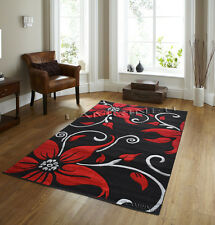 Brand New Luxury Red/Black Glamour Floral Modern Rugs Carpets Mat online uk