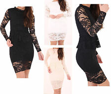 New Womens Ladies Lace Floral Mesh Insert Long Peplum Bodycon Midi Dress UK 8-18