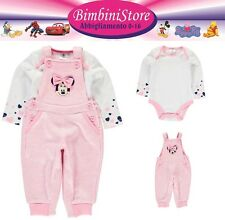 Completo neonata minnie set completo 2 pezzi body e salopette originale