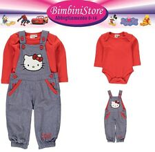 completo neonata hello kitty  set 2 pezzi body e salopette