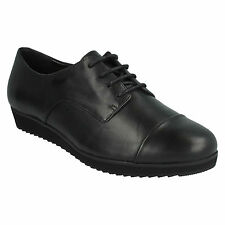 COMPASS FAYRE LADIES CLARKS BLACK LEATHER CASUAL FLAT WORK LACE UP SHOES SIZE
