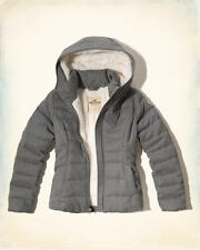 Abercrombie & Fitch – Hollister Womens Sherpa Lined Puffer Jacket XS Grey NWT