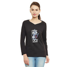 Black color V-neck full sleeve women tee with chest print