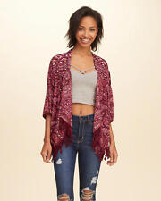 Abercrombie & Fitch - Hollister Womens Kimono Blouse Top Jacket S M L Burgundy
