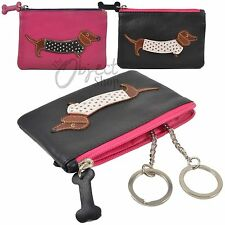 Mala Leather Sausage Dog Coin Purse WIth Key Ring Chain GIft Bag Zip Black Pink